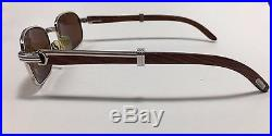 100% Authentic Cartier Sunglass Vintage Collection Platinum With Wood Eyeglasses