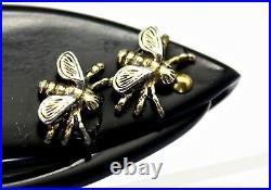 1940 Art Deco Vintage Bakelite Plastic Lorgnette Silver Insects Folding Glasses