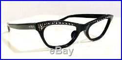 1950's UNSIGNED CAT EYE frame France black glasses fashion