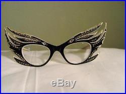 1950s France Cat Eye Rhinestone 5 Lash Vintage Eyeglasses Best Offered