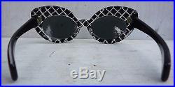 1950s High Winged Cat Eye Sunglasses France Pink & Black Diamonds Atomic Pin Up