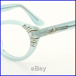 1950s cateye eyeglasses Selecta, Nanette in velvet blue with strass 46-20mm