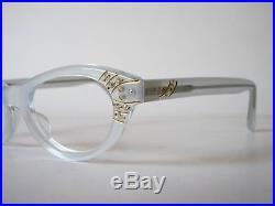 1950s cateye eyeglasses by Selecta, Mod. Nanette Decor in velvet silver 44-20