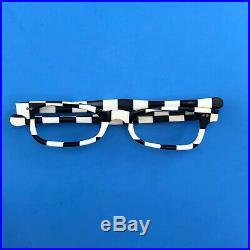 1960s Womens Eyeglass Frames Black White Striped Checked France