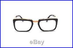 1960s vintage combo eyeglasses by Selecta, Mod. Manager 12kt GF Black 52-22mm