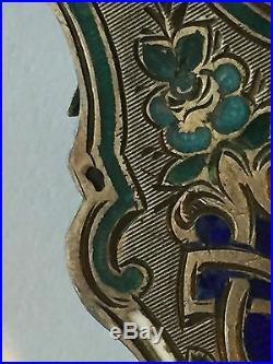 19th C. French Sterling silver Lorgnette Opera Glass Cloisonné Enamel Chatel
