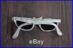50s Cat Eye Sunglasses Pearlised White Lucite w Rhinestones Frames New Lenses