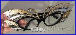 70s/80s vtg nos FRENCH EYEGLASS FRAMES Gold Silver Carved Jeweled BUTTERFLY WING