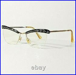 AMOR Cat Eye Black & Gold withRhinestone/Crystal Accent Eyeglasses Frames France