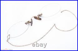 ANTIQUE PINCH, PINCE NEZ READING GLASSES SPECTACLES 12ct GOLD APP. +2 DIOP
