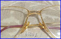 Authentic Vintage Large Cartier Paris Logo 20kt Gold Eye Glasses Frame 59-16