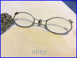 Antique Art Deco French Sterling w Marcasites & Onyx Ornate Folding Lorgnette