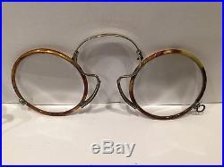 Antique Vintage French Tortoise Frame Eyeglasses S/3 Round Steampunk