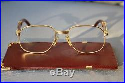 Authenic Vintage Cartier Monceau Palisander Eye Glasses Wood Metal Gold Brown