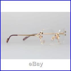 Authentic CARTIER Paris Vintage Eyeglasses CHELSEA Gold Rimless Frame 130 Nos