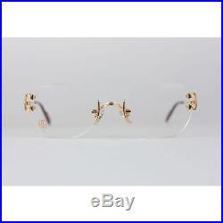 50a01423a6d Authentic CARTIER Paris Vintage Eyeglasses CHELSEA Gold Rimless Frame 130  Nos