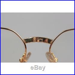 Authentic CARTIER Paris Vintage Eyeglasses LUEUR Gold Oval FRAME 51-17 130 NOS
