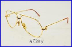 Authentic Cartier Eyeglass Frame Gold X Brown 128173