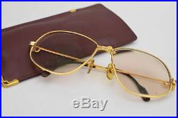 Authentic Cartier Eyeglass Frame Goldtone Bordeaux With Colored RX Lenses 375648