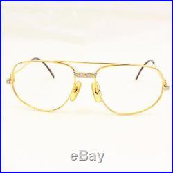 Authentic Cartier Eyeglass Frame Goldtone X Bordeaux Without Lenses 128434
