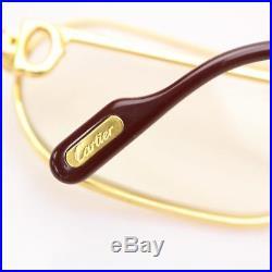 Authentic Cartier Eyeglass Frame With Lenses Goldtone X Bordeaux 56432