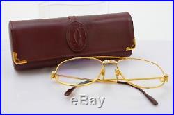 Authentic Cartier Eyeglass Frame With Rx Lenses Santos Goldtone Bordeaux 365933
