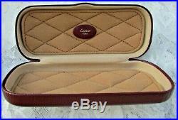 Authentic Vintage CARTIER Eyeglasses Hard Case Burgundy Leather
