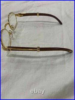 Beautiful Vintage Cartier 135b Gold/Wood Frame Eyeglasses 49-20 Rare
