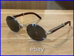 Beautiful Vintage Cartier 135b Silver/Wood Frame Eyeglasses 51-20 Rare