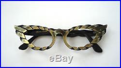 Black & Gold 50s Feather Cateye Mod Vintage French Eyeglasses Sunglasses Frame