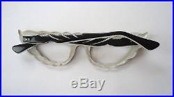 Black & White 50s Feather Cateye Mod Vintage French Eyeglasses Sunglasses Frame