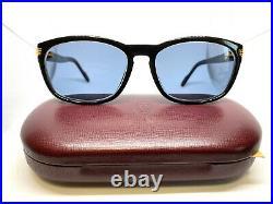 CARTIER 80s! Vintage Eyeglasses / Sunglasses with Case, New Blue Lens! 21117