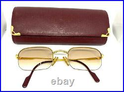 CARTIER LOUIS Half Rimless Vintage Eyeglasses / Sunglasses GOLD Case 30128
