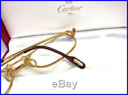 CARTIER MUST SANTOS 55-20 140 GOLD Eyeglasses Sunglasses Vintage with BOX 11030