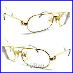 CARTIER Must Louis 55-20 140 Vintage Eyeglasses / Sunglasses Gold Silver 11025