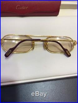 CARTIER Prescription Gold tone Eyeglasses Paris France 130 With Box Vintage