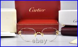 CARTIER Rimless Decor C Small Eyeglasses sunglasses Gold Frame Vintage New Brill