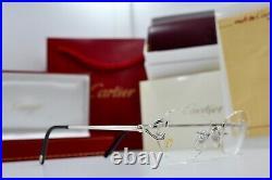 CARTIER Rimless Decor C Small Eyeglasses sunglasses Platinum Frame Vintage New