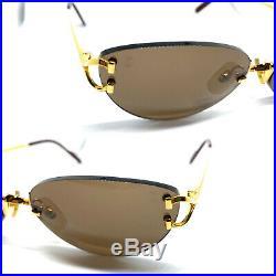 CARTIER Rimless Vintage! Eyeglasses / Sunglasses Panthere Santos Gold 11222