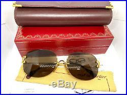 CARTIER Rimless Vintage! Eyeglasses / Sunglasses Panthere Santos Gold BOX 20503