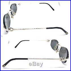 CARTIER Rimless Vintage! Eyeglasses / Sunglasses Silver Grey BOX 20807