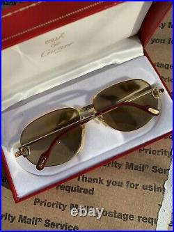 CARTIER Romance Louis 56-16-130 Vintage Eyeglasses Sunglasses Gold Case 779935
