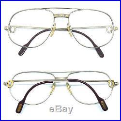 CARTIER Romance Santos 58-18 140 Mat Silver Vintage Eyeglasses Sunglasses 11129