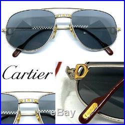 CARTIER Romance Santos 58-18 140 Mat Silver Vintage Eyeglasses Sunglasses 20401