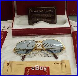 CARTIER Romance Vendome Louis 54-16-130mm Sunglasses/Eyeglasses Gold Vtg France