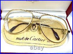 CARTIER Vendome SANTOS 56-14-130 Vintage Eyeglasses Sunglasses with Case 20502