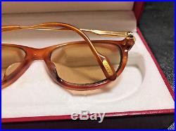 CARTIER Vintage Eyeglasses / Sunglasses BROWN with Case