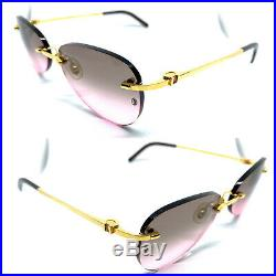 CARTIER Vintage! Eyeglasses / Sunglasses rimless rimeless Gold stone 20515