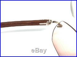 CARTIER WOOD Vintage! Eyeglasses / Sunglasses Panthere Santos Gold 11102