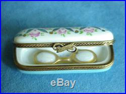 CHAMONT Limoges Pink Roses Eye Glasses Case Optometrist Vintage Trinket Box